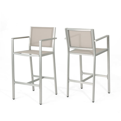 Canobie Outdoor Mesh 29.50 Inch Barstools With Aluminum Frame (Set Of 4)