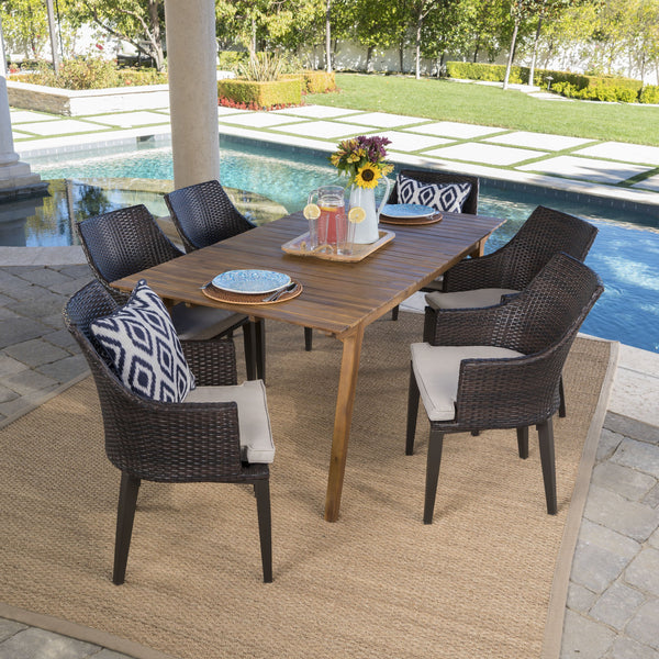 Helena Outdoor 7 Piece Teak Finished Acacia Wood Rectangular Dining Set With Mulit Wicker Dining Chairs And Water Resistant Cushions