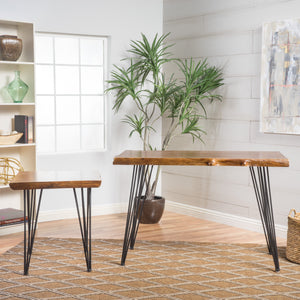 Khoti Mid Century Natural Finish Faux Liveedge Firwood Desk Set