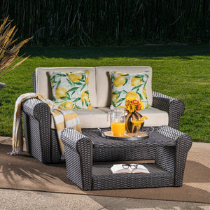 Amalee Outdoor Wicker Loveseat And Coffee Table Set With Water Resistant Cushions