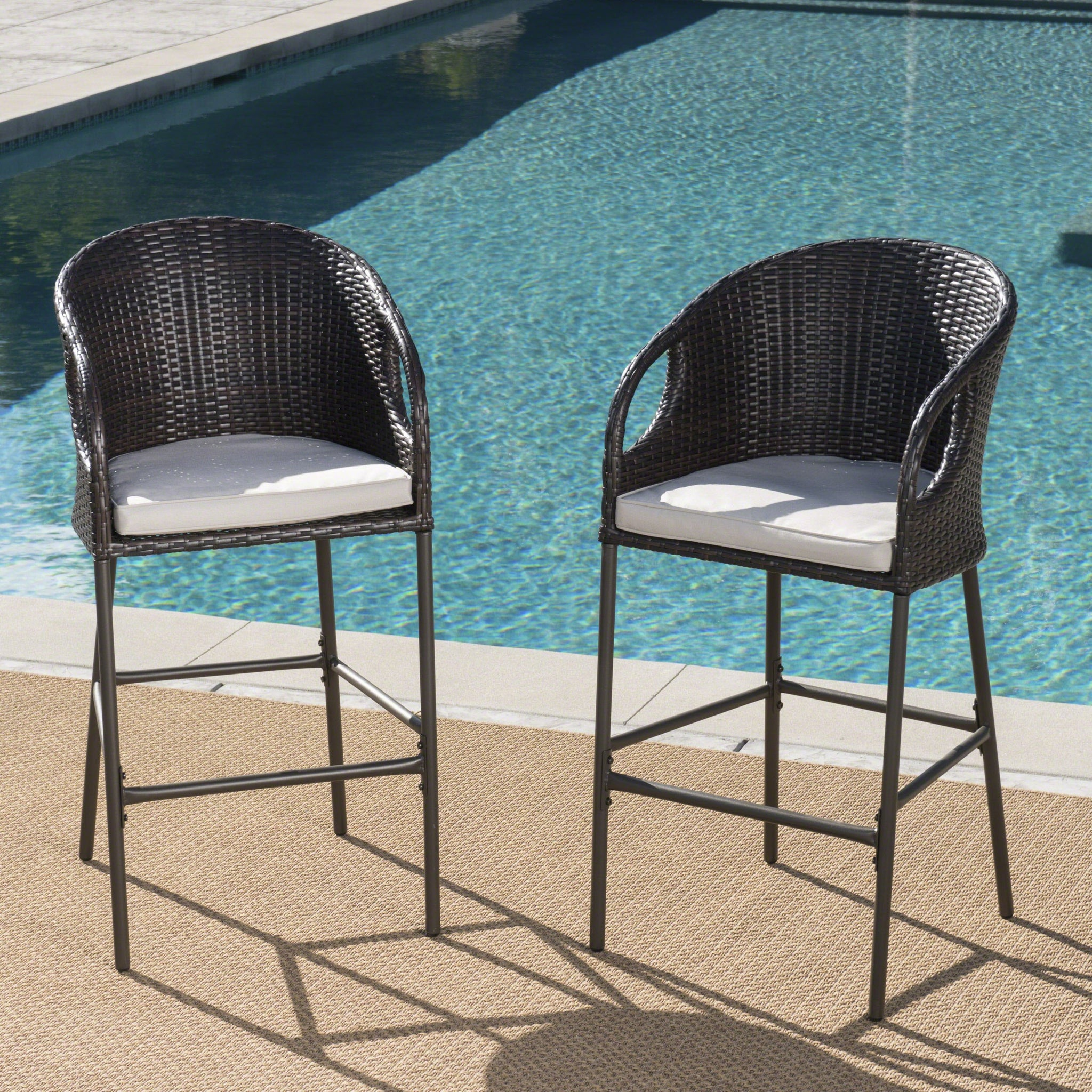 Doland Outdoor Wicker Barstools With Water Resistant Cushions (Set Of 2)