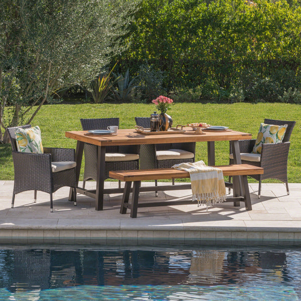 Lily Outdoor 6 Piece Rustic Metal Iron And Sandblast Finished Acacia Wood Dining Set With 4 Wicker Dining Chairs And Water Resistant Cushions