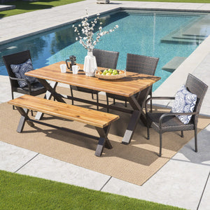 Buchanan Outdoor 6 Piece Teak Finished Acacia Wood Dining Set With Wicker Stacking Chairs