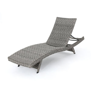 Crema Outdoor Armless Aluminum Framed Wicker Chaise Lounge