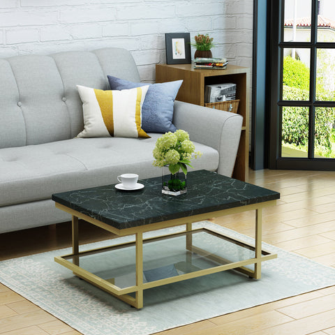 Mussel Modern Marble Coffee Table With Stainless Steel Frame