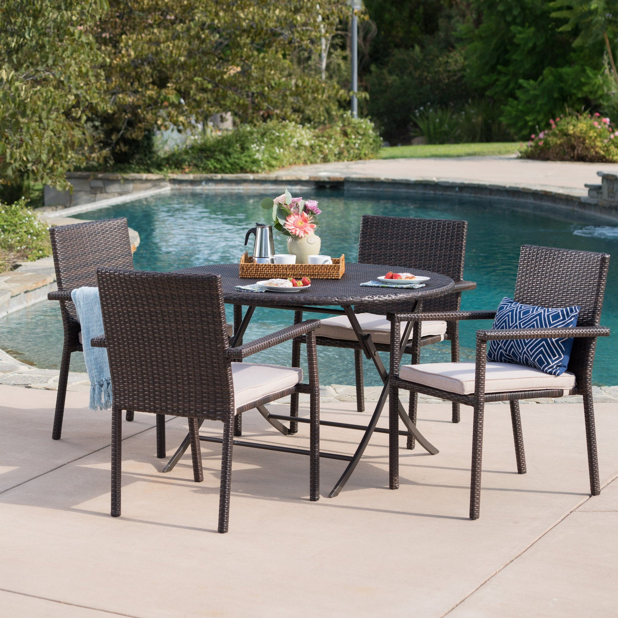 Adeon Outdoor 5 Piece Wicker Dining Set With Foldable Table And Stacking Chairs With Textured Water Resistant Cushions