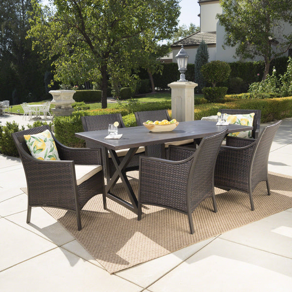 Destiny Outdoor 7 Piece Aluminum Dining Set With Wicker Dining Chairs With Tan Water Resistant Cushions