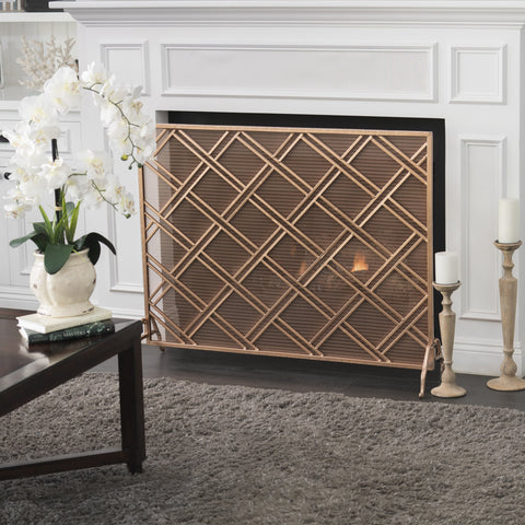Jonestown Single Panel Copper Iron Fireplace Screen