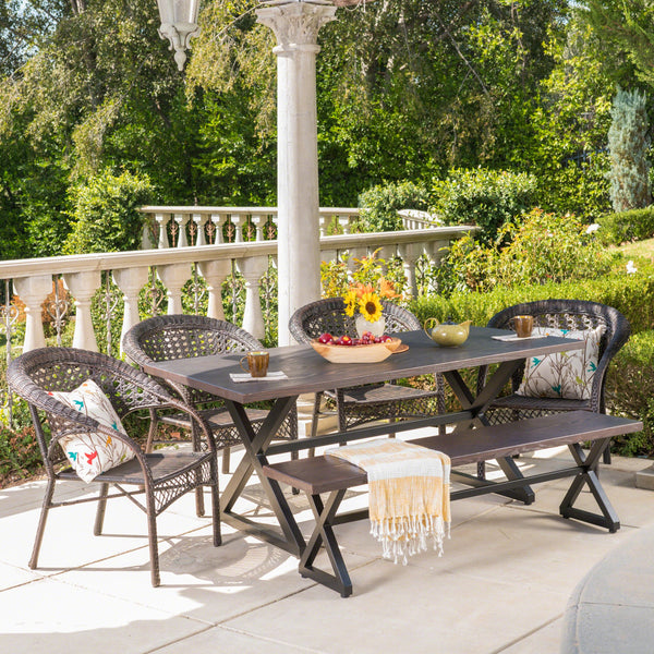 Kenilworth Outdoor 6 Piece Aluminum Dining Set With Bench And Wicker Stacking Chairs