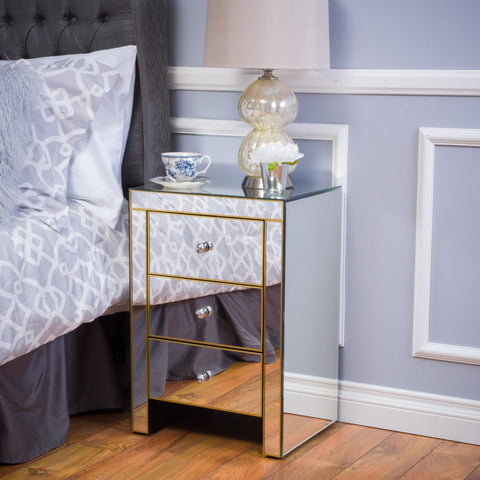 Lemyra Mirrored 3 Drawer Side Table