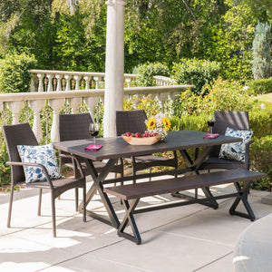 Cascade Outdoor 6 Piece Aluminum Dining Set With Bench And Wicker Stacking Chairs