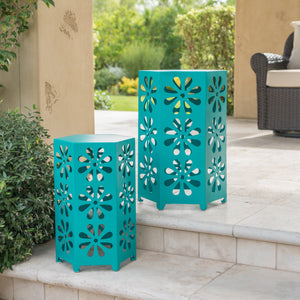 Damie Outdoor 12 And 14 Inch Matte Iron Floral Side Tables