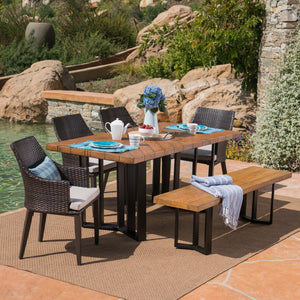 Elijah Outdoor 6 Piece Wicker Dining Set With Textured Finish Concrete Dining Table And Bench And Water Resistant Cushions