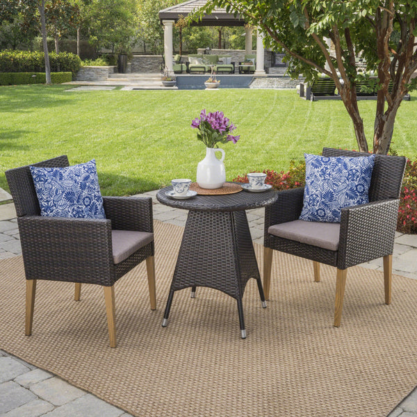 Bardow Outdoor 3 Piece Wicker Circular Bistro Set With Wood Finished Legs And Water Resistant Cushions