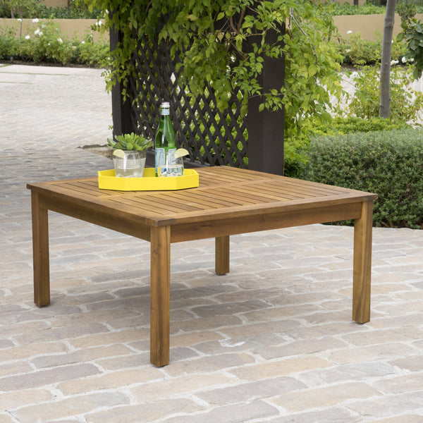 Penfield Outdoor Teak Fnished Acacia Wood Coffee Table