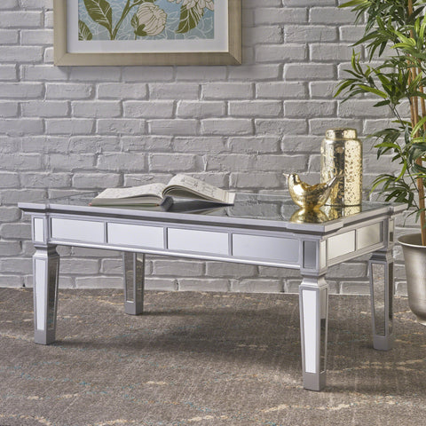 Sloane Mirrored Finished Faux Wood Coffee Table