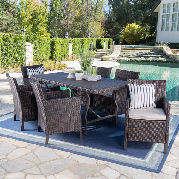 Arlana Outdoor 7 Piece Wicker Dining Set With Rectangular Aluminum Framed Dining Table And Water Resistant Cushions