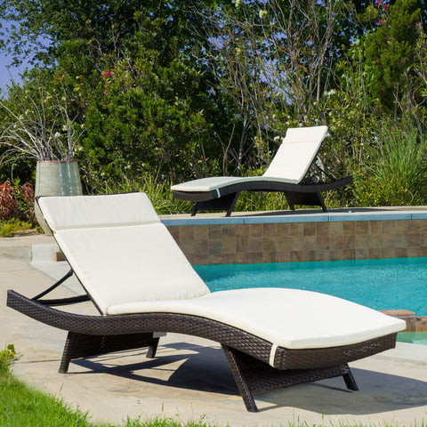 Sagan Outdoor Textured Water Resistant Chaise Lounge Cushion
