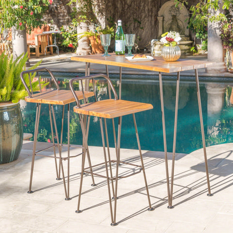 Delta Outdoor Industrial Teak Finished Acacia Wood Bar Set With Rustic Metal Finished Iron Frame