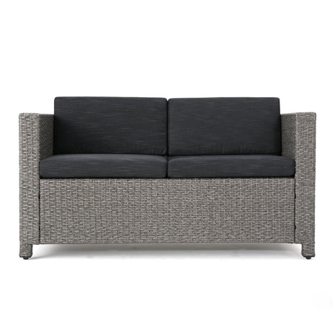 Preston Outdoor Wicker Loveseat With Cushions