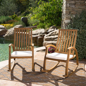 Cavalier Outdoor Finished Acacia Wood Rocking Chair With Water Resistant Cushions (Set Of 2)