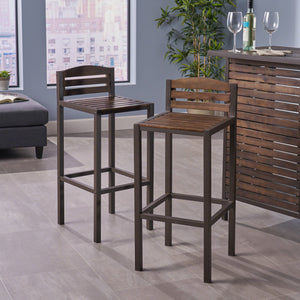 Lieutenant Indoor Finish Acacia Barstools With Rustic Metal Finish Iron Frame (Set Of 2)
