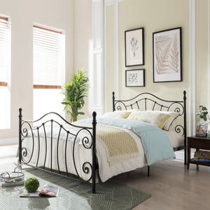 Capewood Classical Matte Finished Iron Queen Bed Frame
