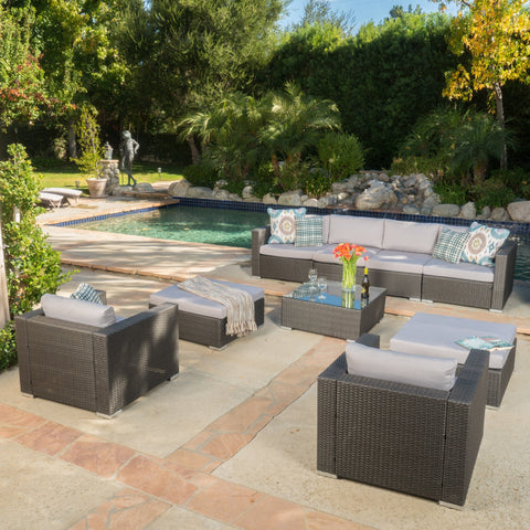 Santa Barbara Outdoor 6 Seater Wicker Sectional With Aluminum Frame And Water Resistant Cushions