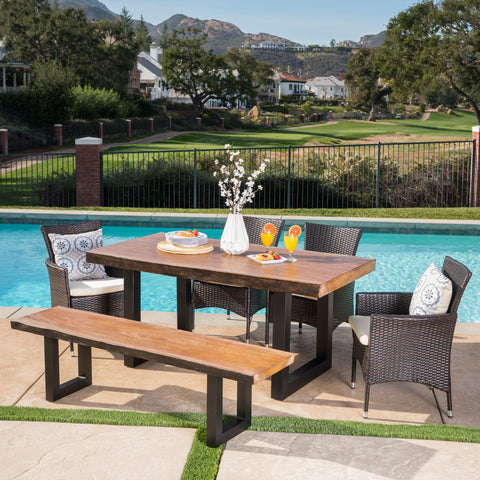 Leilani Outdoor 6 Piece Wicker Dining Set With Antique Teak Finish Concrete Table And Bench And Water Resistant Cushions