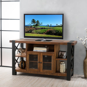 Tomlin Natural Wood Tv Console With Cabinets