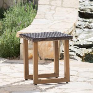 Malta Outdoor Wicker Side Table With Matching Aluminum Legs
