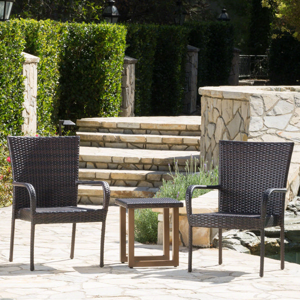 Kerslake Outdoor 3 Piece Wicker Chat Set With Matching Stacking Chairs