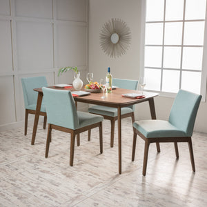 "Kolin Fabric/ Natural Finish 60"" Rectangular 5 Piece Dining Set"
