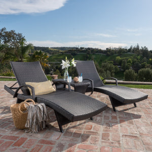 Sagan Outdoor 3 Piece Wicker Armed Chaise Lounge Set With Lounge Table