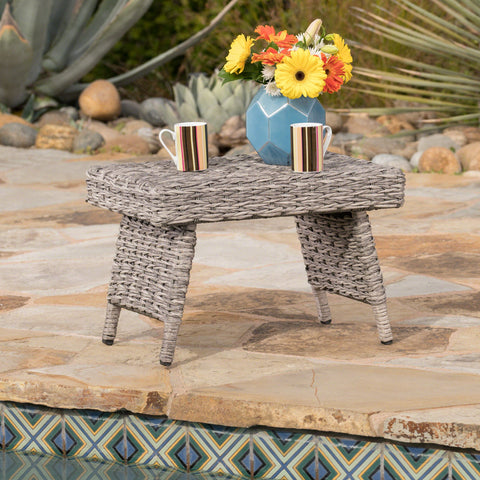 The Darvis Outdoor Aluminum Framed Wicker Snack Table