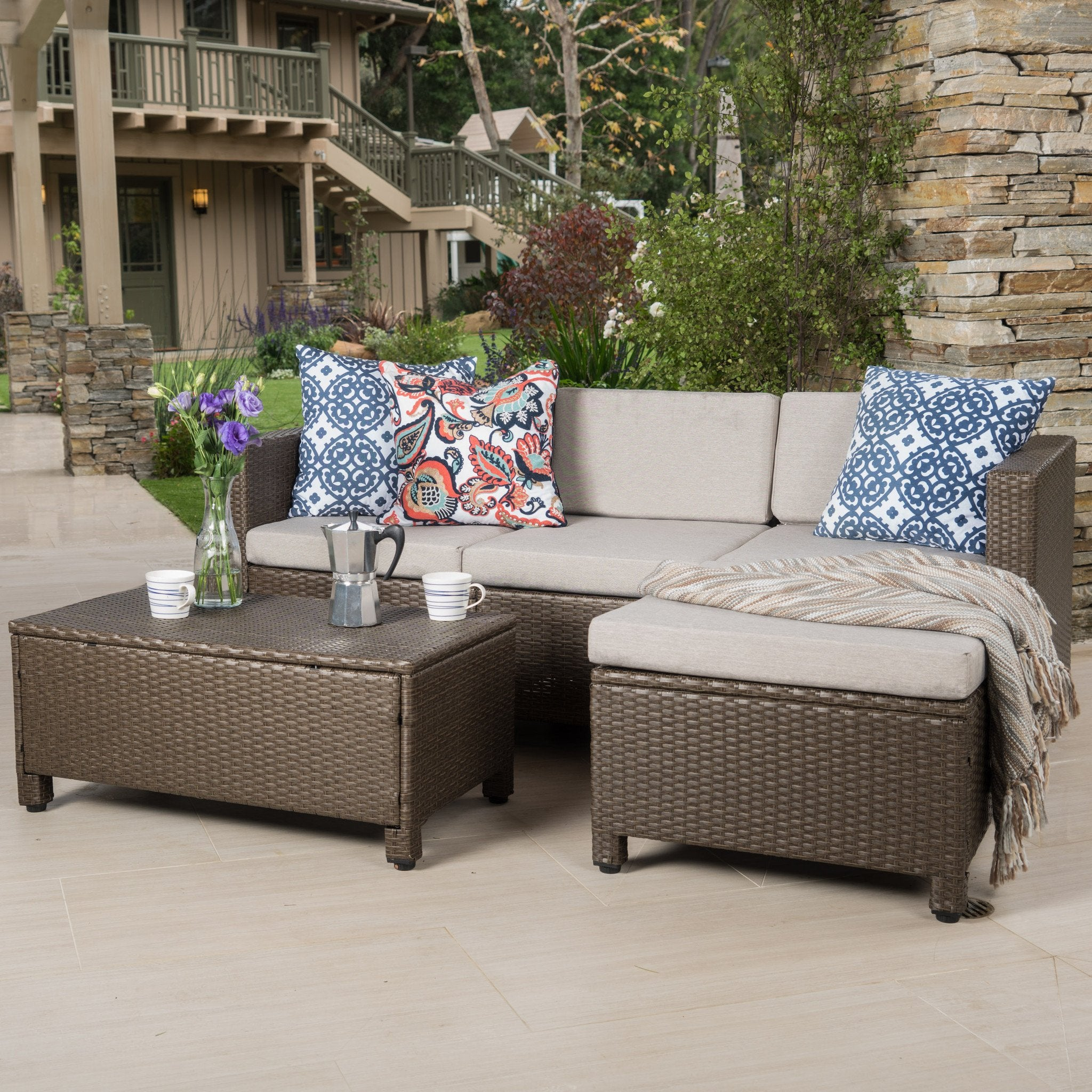 Preston Outdoor L Shape Wicker Sofa With Ceramic Water Resistant Cushion