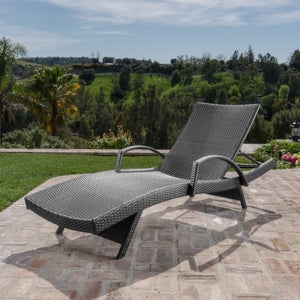Sagan Outdoor Wicker Armed Chaise Lounge