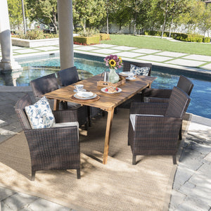 Ostia Outdoor 7 Piece Teak Finished Acacia Wood Rectangular Dining Set With Mulit Wicker Dining Chairs And Water Resistant Cushions