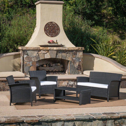 Spencer Outdoor 4 Piece Wicker Chat Set With Water Resistant Cushions