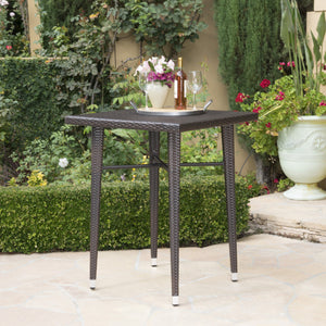 Doland Outdoor 32.5 Inch Square Wicker Bar Table