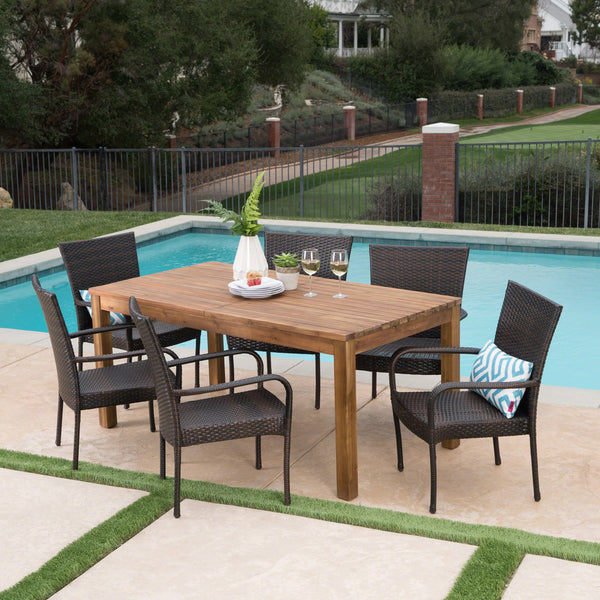 Laina Outdoor 7 Piece Wicker Dining Set With Teak Finished Acacia Wood Expandable Dining Table
