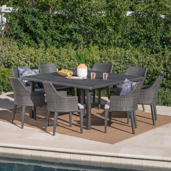 Arlo Outdoor 9 Piece Wicker Square Dining Set With Water Resistant Cushions
