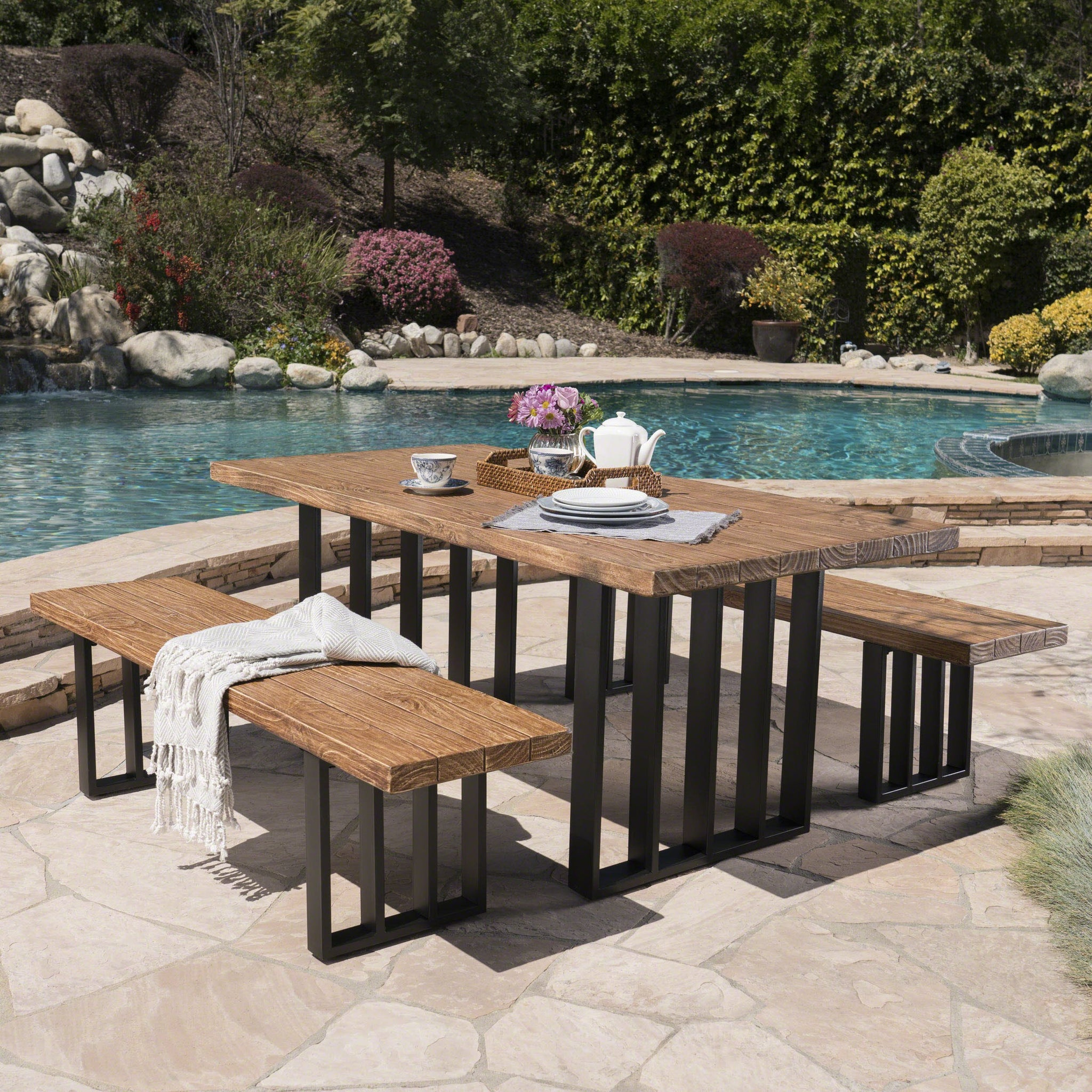 Kamela Outdoor 3 Piece Natural Finish Concrete Picnic Set