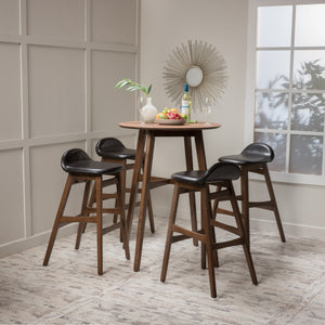 Monty Leather/ Natural Finish Circular 5 Piece Bar Height Dining Set