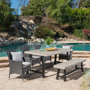 Lily Outdoor 6 Piece Wicker Dining Set With Sandblast Finish Acacia Wood Table And Bench And Water Resistant Cushions