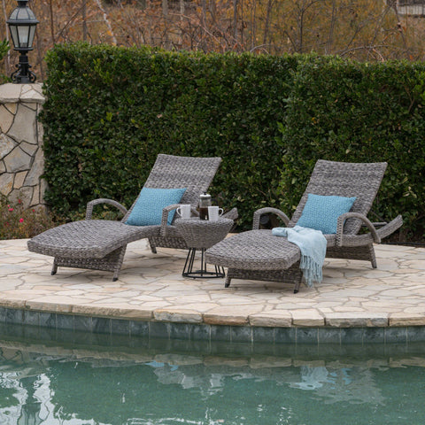 Crema Outdoor 3 Piece Wicker Armed Chaise Lounges With Wicker Circular Side Table