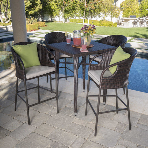 Doland Outdoor 5 Piece 41 Inch Wicker Square Bar Set With Water Resistant Cushions