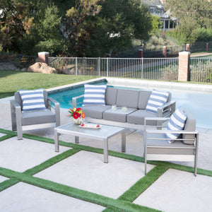 Canobie Outdoor 4 Piece Aluminum Chat Set With Water Resistant Fabric Cushions
