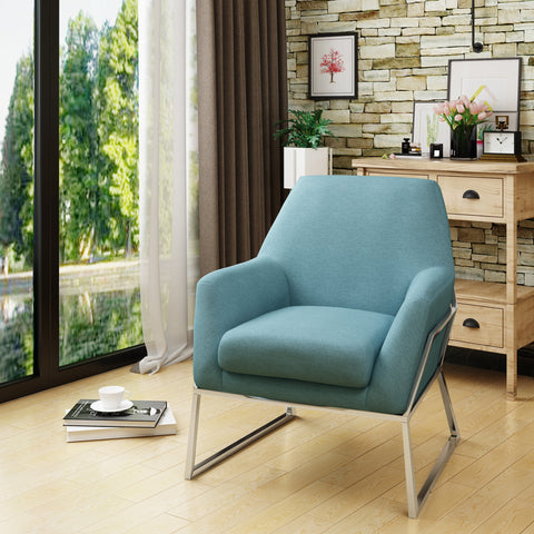 Yucaipa Modern Fabric Chair With Stainless Steel Frame