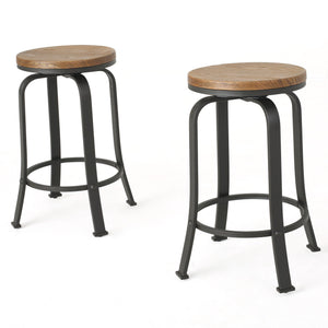 Sincere Natural Wood Rotating Counter Stool (Set Of 2)